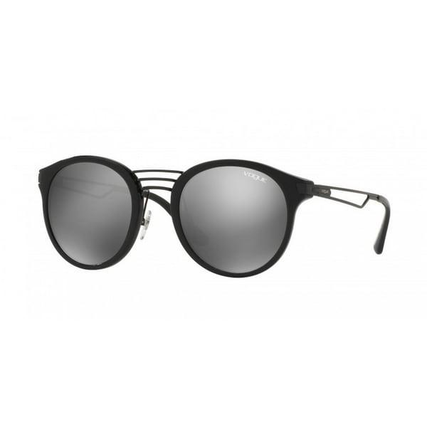 9b597e3913 Vogue Women  x27 s VO5132S W44 6G 52 Round Plastic Black Grey Sunglasses