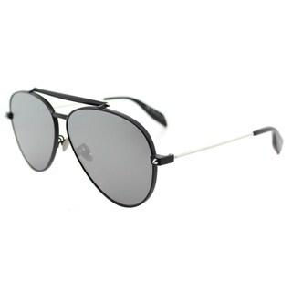 Alexander McQueen AM 0057S 001 Matte Black Metal Aviator Sunglasses Silver Flatt Mirror Lens