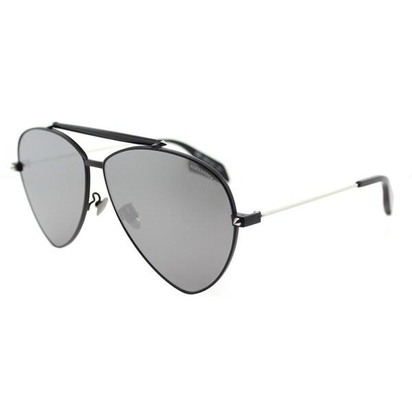 b711bd7ca499b Alexander McQueen AM 0058S 001 Matte Black Metal Aviator Sunglasses Silver  Flatt Mirror Lens