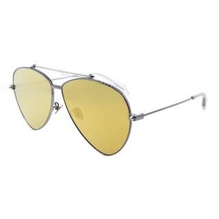 Alexander McQueen AM 0058S 003 Ruthenium Metal Aviator Sunglasses Gold Flatt Mirror Lens