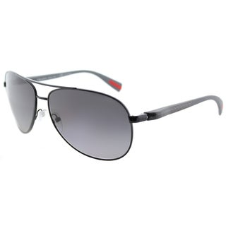 Prada Linea Rossa PS 51OS 7AX5W1 Netex Collection Black Metal Aviator Sunglasses Grey Gradient Polarized Lens