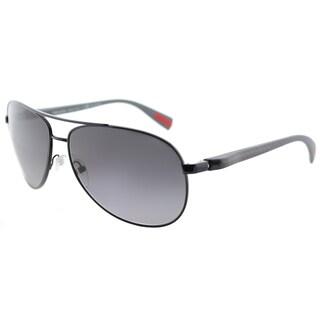 Prada Linea Rossa PS 51OS 7AX5W1 Netex Collection Black Metal Aviator Sunglasses Grey Gradient Polarized Lens