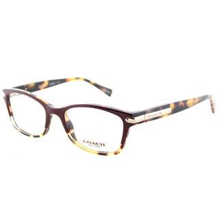 Coach HC 6065 5437 Burgundy Tortoise Plastic Rectangle Eyeglasses 49mm