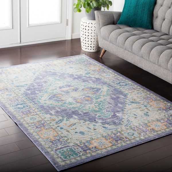 Silver Orchid Barrows Vintage-finish Floral Medallion Runner Rug
