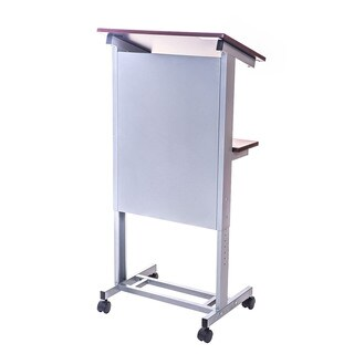 Offex OF-LX-ADJ-DW Adjustable Height Lectern Podium Mobile Presentation Station