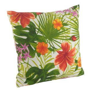 Hibiscus Flower Print Indoor/Outdoor Poly Filled Throw Pillow