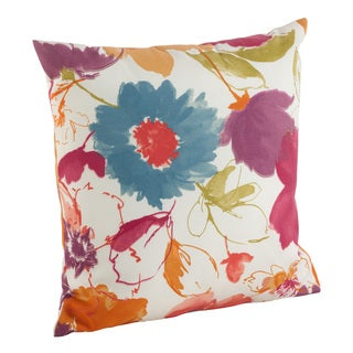 Watercolor Floral Art Pattern Indoor/Outdoor Poly Filled Throw Pillow