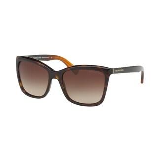 Michael Kors Women's MK2039 321713 54 Square Plastic Havana Smoke Sunglasses