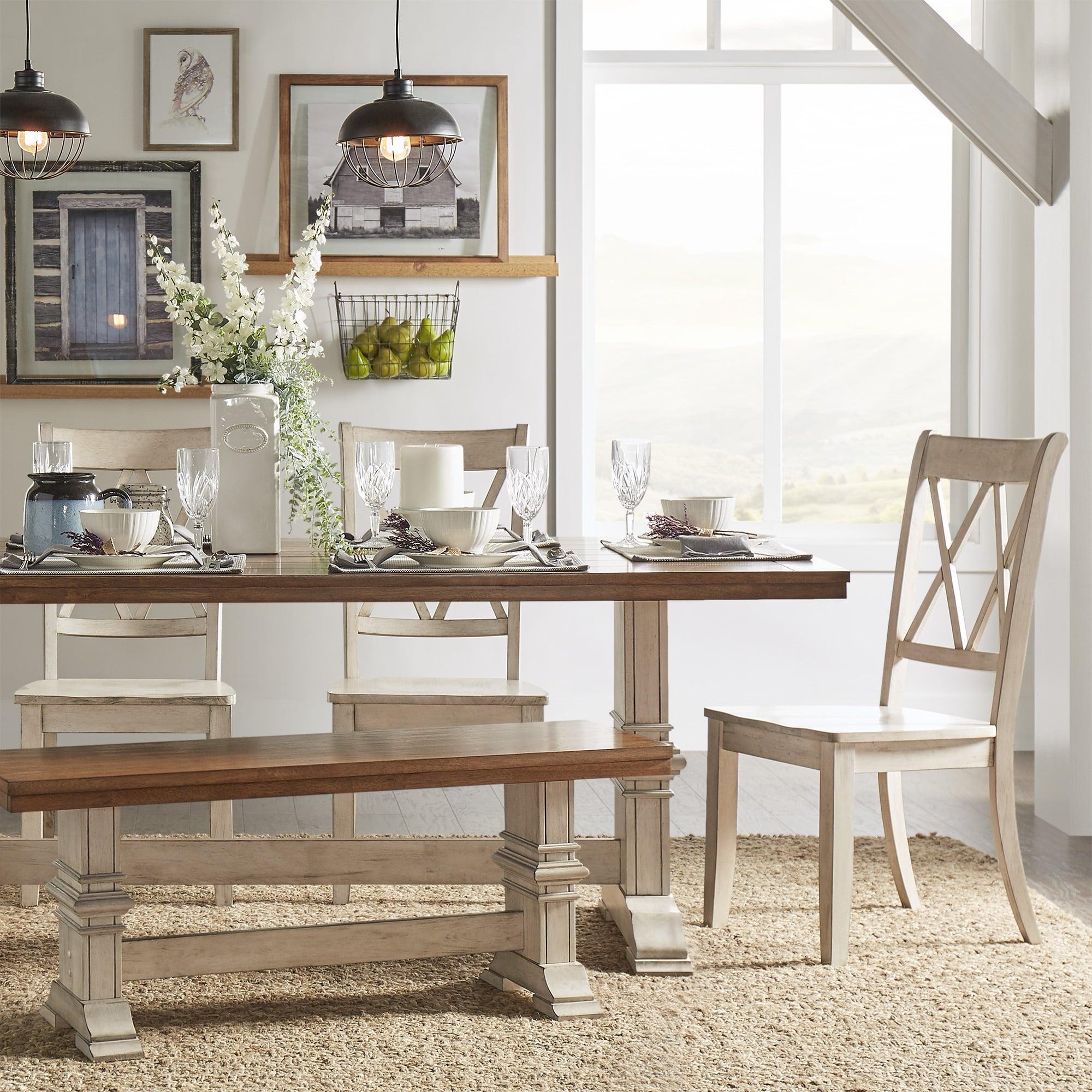 Eleanor Antique White Farmhouse Trestle Base 6 Piece Dining Set X Back By Inspire Q Clic