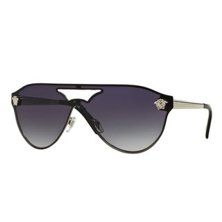 Versace Women's VE2161 10008G 42 Aviator Metal Plastic Grey Sunglasses