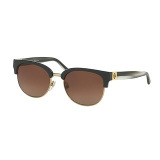 Tory Burch Women's TY9047 1606T5 52 Square Plastic Black Brown Sunglasses