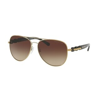 Michael Kors Women's MK1015 112813 58 Aviator Metal Plastic Gold Smoke Sunglasses