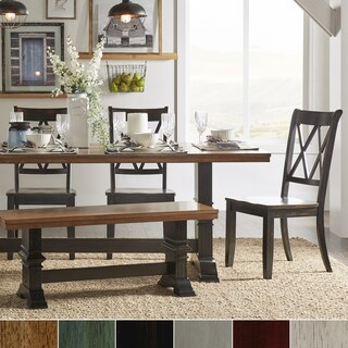 Eleanor Black Farmhouse Trestle Base 6-Piece Dining Set - X Back by iNSPIRE Q Classic