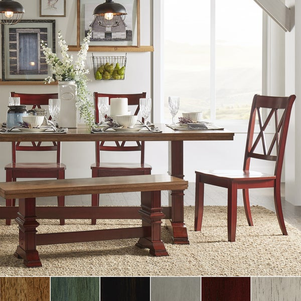 Eleanor Berry Red Farmhouse Trestle Base 6-Piece Dining Set - X Back by iNSPIRE Q Classic