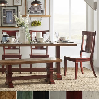 Eleanor Berry Red Farmhouse Trestle Base Panel Back 6-piece Dining Set by iNSPIRE Q Classic