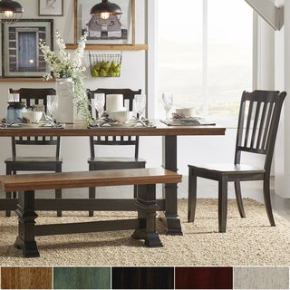 Eleanor Black Farmhouse Trestle Base Slat Back 6-piece Dining Set by iNSPIRE Q Classic