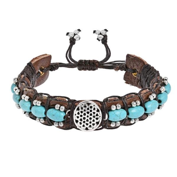 Handmade Inspirational Symbol Turquoise Rolls Leather Bracelet (Thailand). Opens flyout.