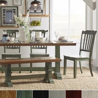 Eleanor Sage Green Farmhouse Trestle Base Slat Back 6-piece Dining Set by iNSPIRE Q Classic