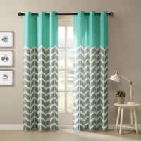 Intelligent Design Rayna Chevron Printed Grommet Top Curtain Panel Pair 42x84 in Yellow(As Is Item)