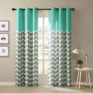 """Intelligent Design Rayna Chevron Printed Grommet Top Curtain Panel Pair 84"""" in Yellow(As Is Item)"""