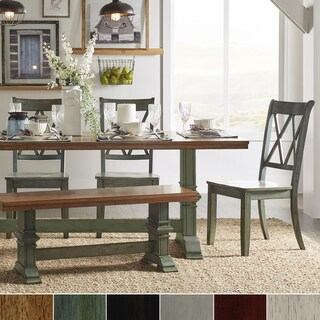 Eleanor Sage Green Farmhouse Trestle Base 6-Piece Dining Set - X Back by iNSPIRE Q Classic