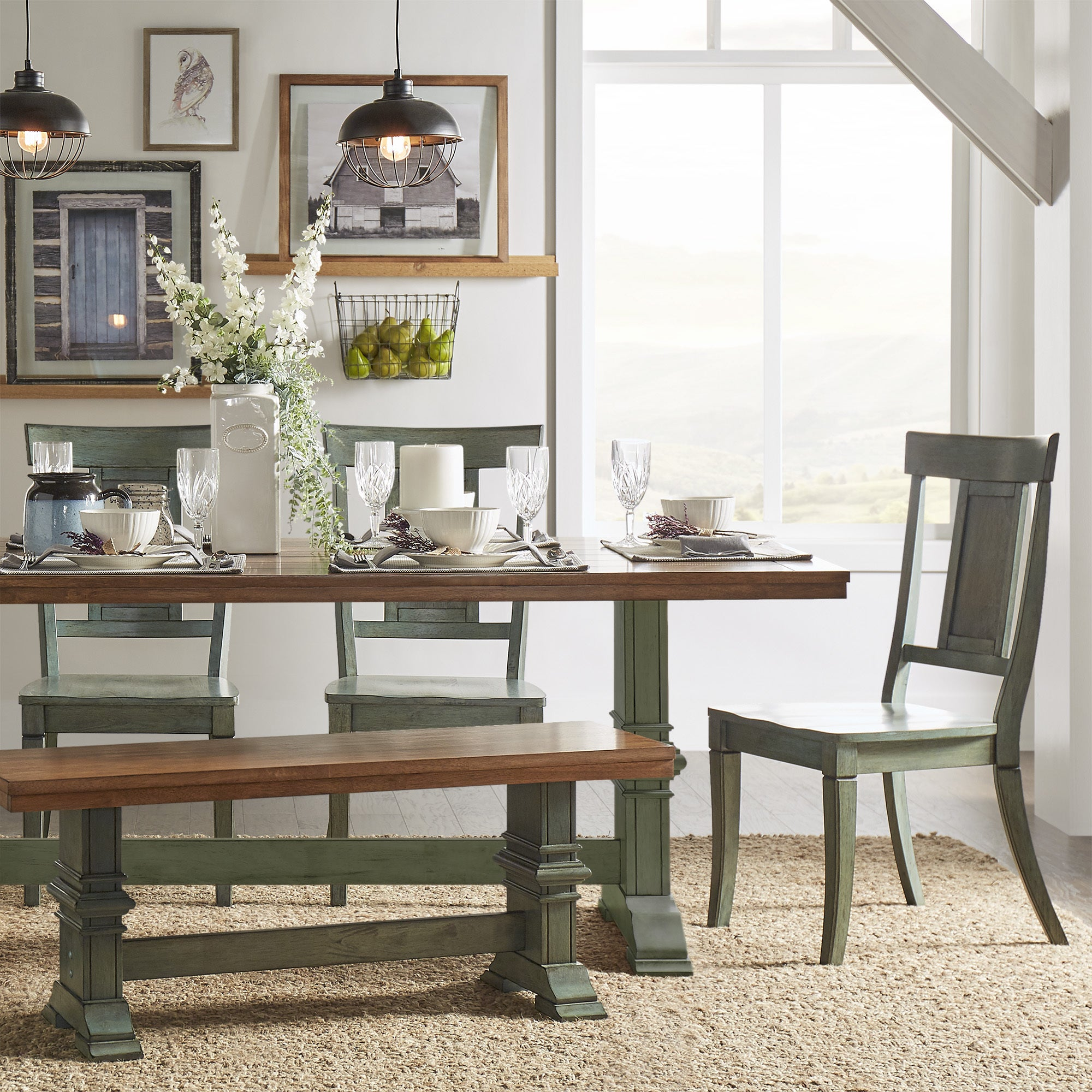 Eleanor Sage Green Farmhouse Trestle Base Panel Back 6-piece Dining Set by  iNSPIRE Q Classic