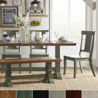 Eleanor Sage Green Farmhouse Trestle Base Panel Back 6-piece Dining Set by TRIBECCA HOME