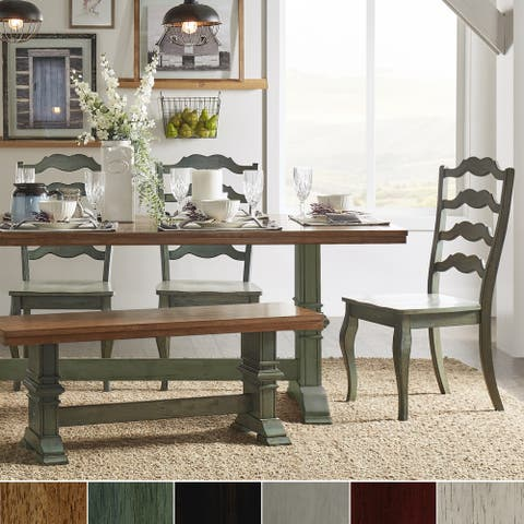 Eleanor Sage Green Farmhouse Trestle Base French Ladder 6-piece Dining Set by iNSPIRE Q Classic