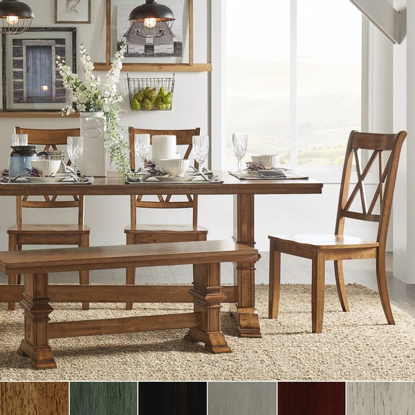 Dining Sets For 6: Shop Eleanor Oak Farmhouse Trestle Base 6-Piece Dining Set