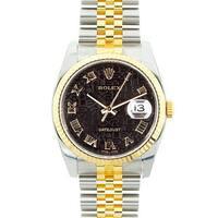 Pre-owned Rolex Mid 2000's Model 116233 Men's Datejust Two-tone Black Jubilee Dial Watch