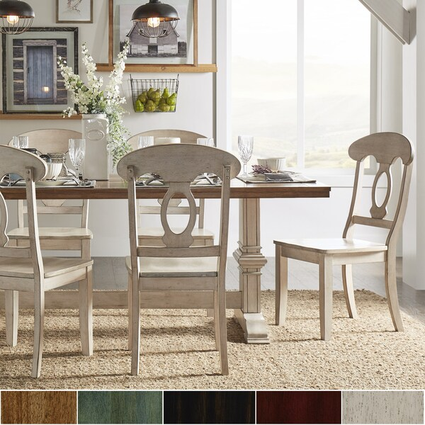 Archibald 7 Piece White Dining Set: Shop Eleanor Antique White Farmhouse Trestle Base Napoleon