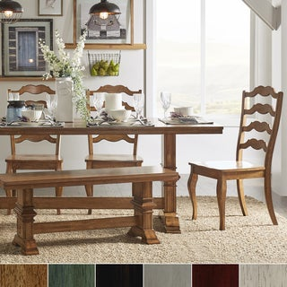 Eleanor Oak Farmhouse Trestle Base 6-Piece Dining Set - French Ladder Back by iNSPIRE Q Classic