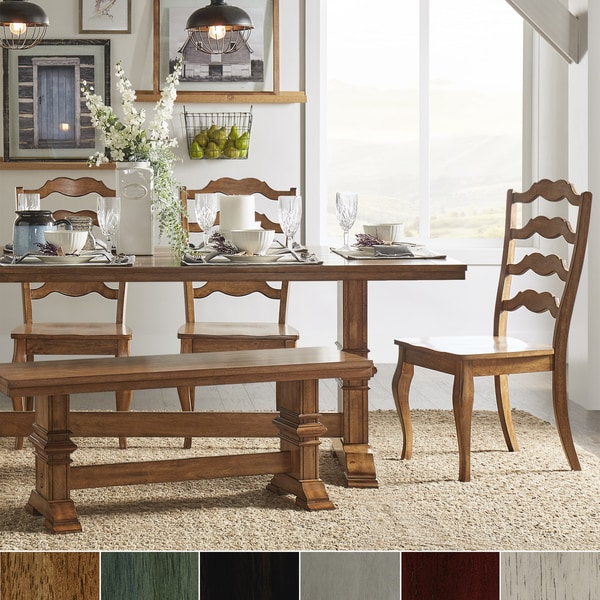 Shop Eleanor Oak Farmhouse Trestle Base 6 Piece Dining Set