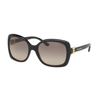Tory Burch Women's TY7101 137713 57 Rectangle Plastic Black Brown Sunglasses