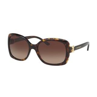 Tory Burch Women's TY7101 137813 57 Rectangle Plastic Havana Brown Sunglasses
