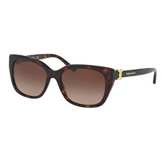 Tory Burch TY7099 Womens Havana Frame Brown Lens Cateye Sunglasses - Tortoise
