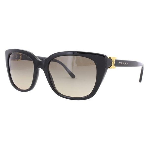 e4cf71599a Tory Burch TY7099 Womens Black Frame Brown Lens Cateye Sunglasses