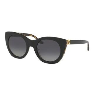 Tory Burch TY7097 Womens Black Frame Grey Lens Cateye Sunglasses