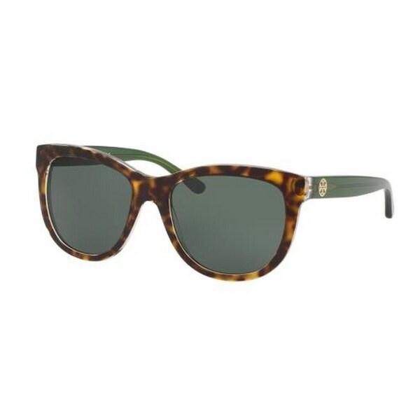 acdb7b8160 Tory Burch TY7091 Womens Havana Frame Green Lens Square Sunglasses -  Tortoise