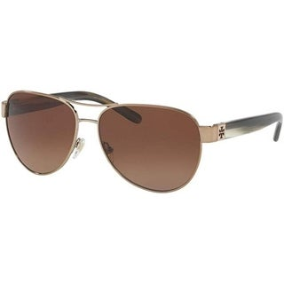 Tory Burch Women's TY6051 3198T5 60 Aviator Metal Plastic Gold Brown Sunglasses