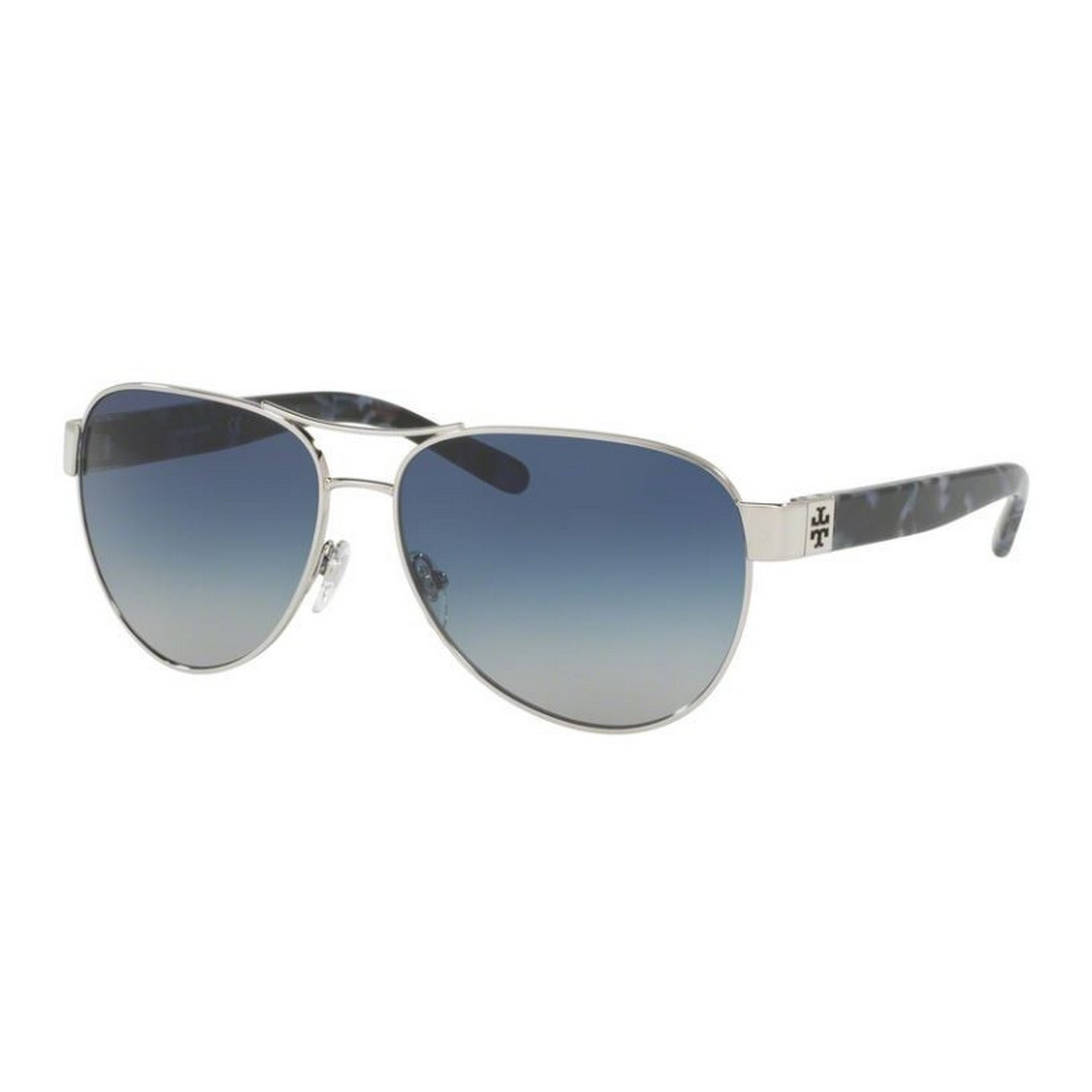 2ccb18b80b25 Shop Tory Burch TY6051 Womens Silver Frame Blue Lens Aviator Sunglasses - Free  Shipping Today - Overstock - 14692335