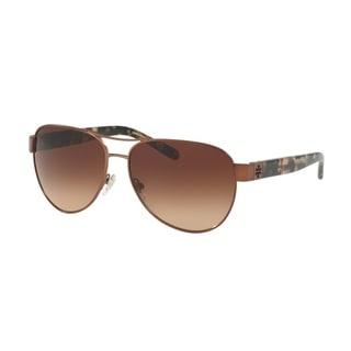 Tory Burch Women's TY6051 319113 60 Aviator Metal Plastic Brown Brown Sunglasses
