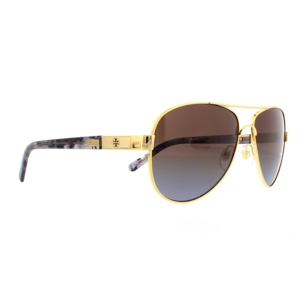8a0c0ba64ecd Tory Burch TY6010 Womens Gold Frame Brown Lens Aviator Sunglasses