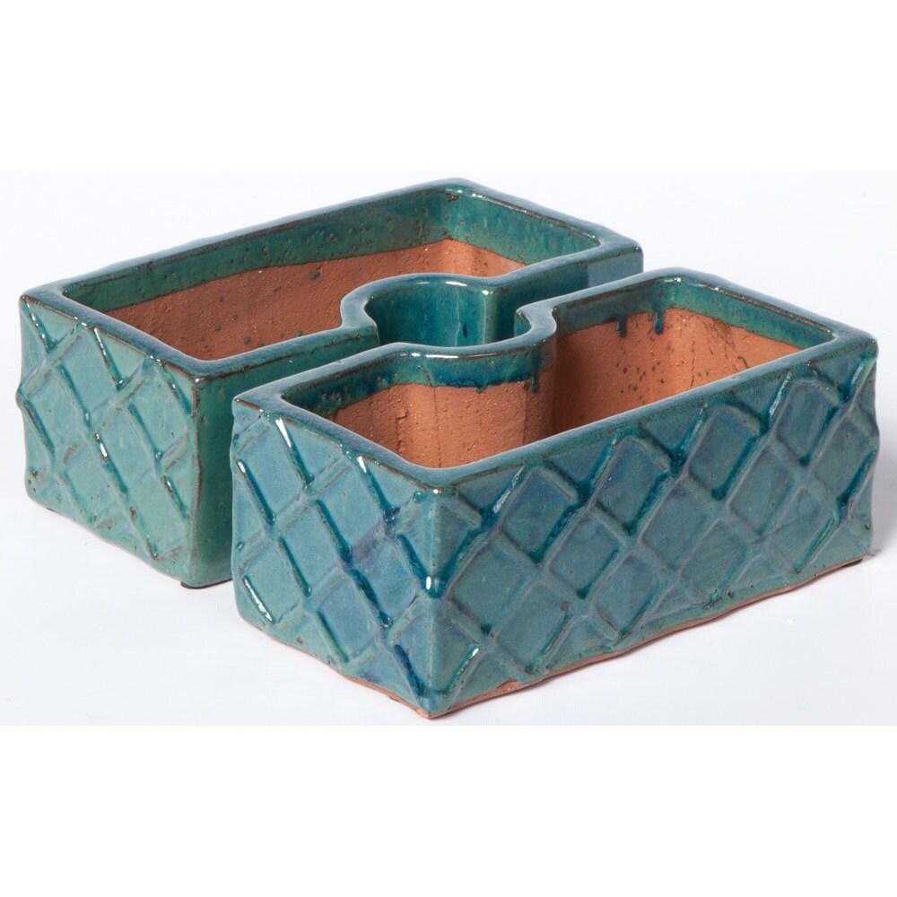 Alfresco Home Trellis Atlantis Blue Ceramic Square Umbrel...