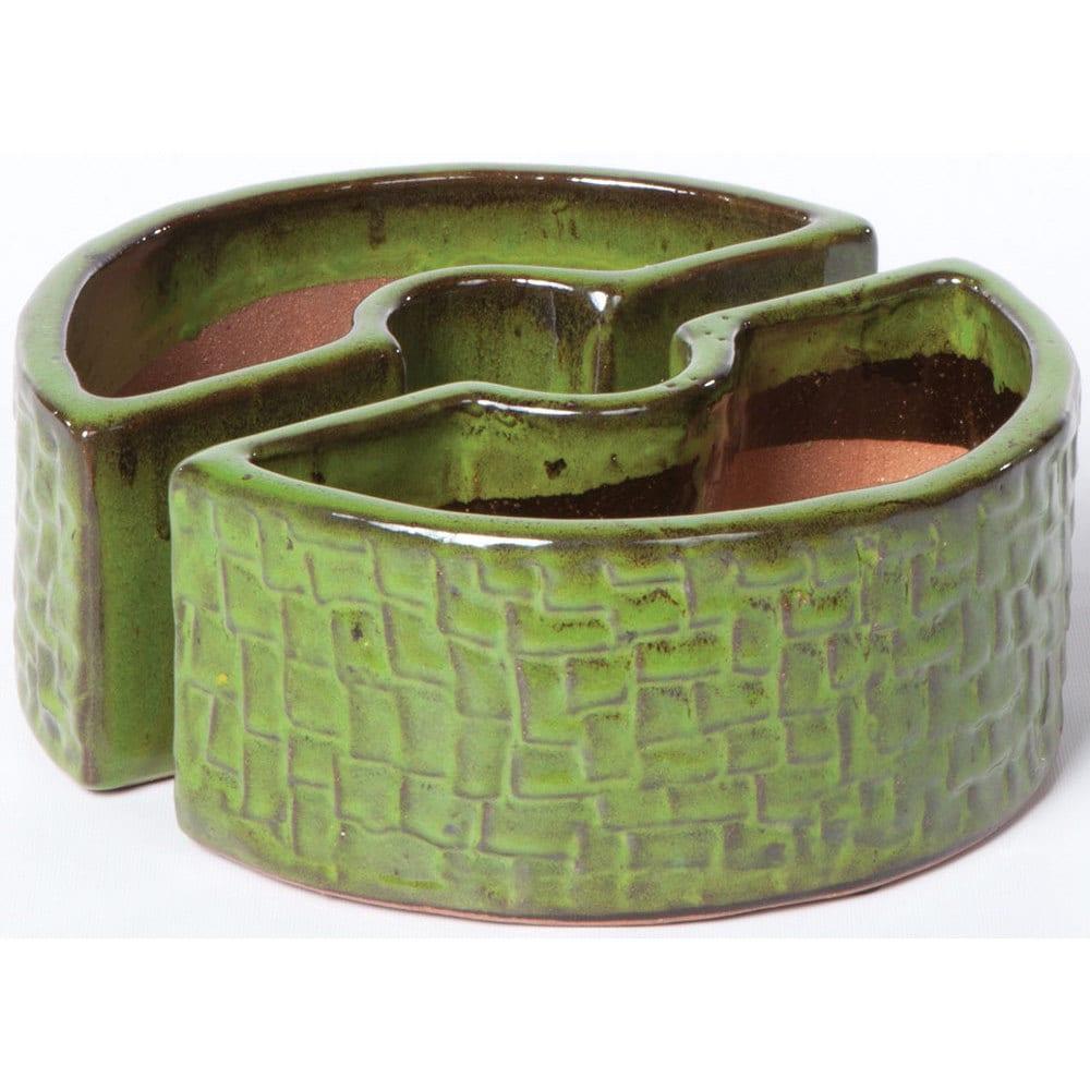 Alfresco Island Green Ceramic Cobblestone Umbrella Plante...