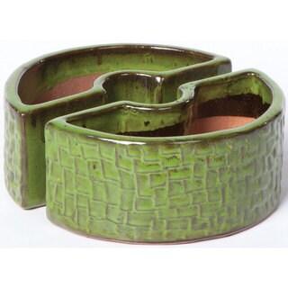 Alfresco Home Island Green Ceramic Cobblestone Umbrella Planter
