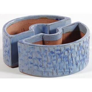 Alfresco Home Blue Ceramic Cobblestone Umbrella Planter