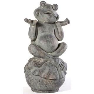 Alfresco Home Brown Fiberstone Carefree Frog Garden Statue