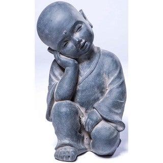 Alfresco Home Brown Resin Thinking Buddha Garden Statue