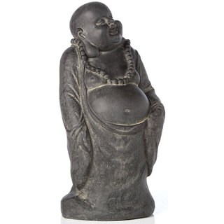Alfresco Home Buddha With Belly Antique Dark Brown Resin Statue